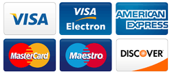 VISA, Electron, MasterCard, Maestro, American Express, Discover